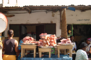 Pork trotters for sale at a market in Ghana.