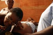A pregnant woman is given a routine check-up at a clinic in Monrovia.