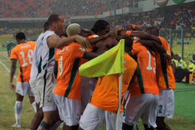 Côte d'Ivoire celebrates after scoring. (File Photo)
