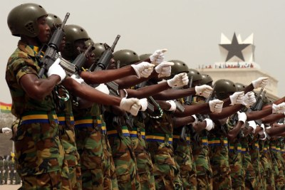 Members of the Ghanaian army march through Independence Square.