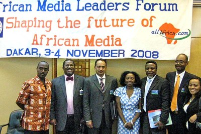 At the African Media Leaders' Forum, from left: Linus Gitahi of Nation Media Group, Kenya, Nduka Obaigbena of THISDAY, Nigeria, Hoosain Karjieker of M&G Media, South Africa, Marie-Roger Biloa of Africa International magazine, Eric Chinje of the World Bank, Amadou Mahtar Ba of AllAfrica and facilitator Tendai Kadenhe-Mhizha.