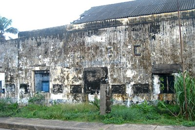 A damaged power plant of the Liberian Electricity Corporation.
