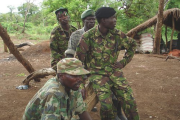 Some of the LRA soldiers sit outside, Sudan, April 2007.
