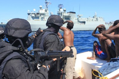 (File photo): Portuguese marines apprehended Somali pirates.