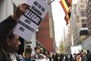 A protest at the Ugandan mission to the United Nations against the Anti-Homosexuality Bill (file photo).