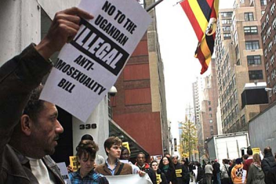 A protest at the Ugandan mission to the United Nations: The country's cabinet amended a proposed anti-gay law after strong foreign protests.
