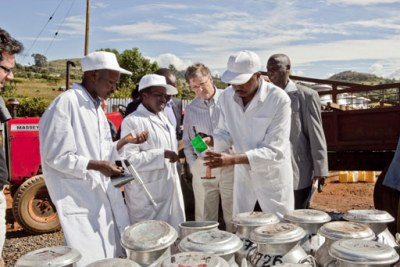 Bill Gates, co-chair of the Bill & Melinda Gates Foundation, visits a smallholder dairy farm in Kenya.