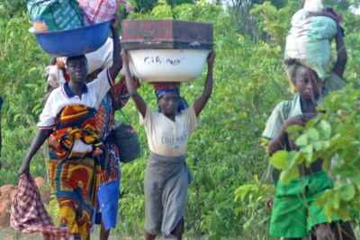 Women and children fleeing from recent violence in Plateau State (file photo)