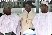 Former president Umaru Yar'Adua, right, with his predecessor, Olusegun Obasanjo, left, and successor President Goodluck Jonathan in May 2009.