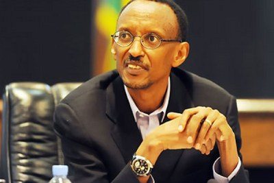 President Kagame at the press conference (file photo).