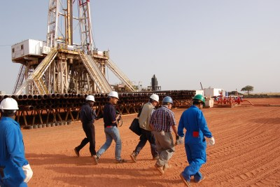Oil rig (file photo): The country will only pump oil at about 70 percent of its former capacity.