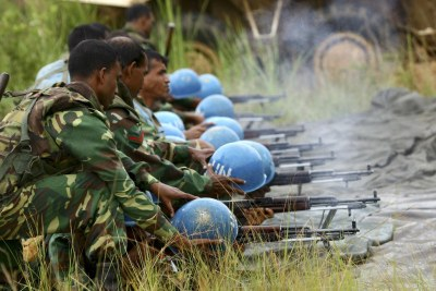 United Nations Organization Mission in the Democratic Republic of the Congo (MONUC) peacekeepers are pictured during a training exercise at the shooting range, near Bunia in Ituri.