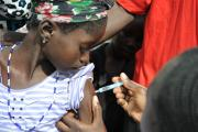 A young girl receives a vaccine that promises to rid 25 countries in Africa's meningitis belt of the primary cause of epidemic meningitis.