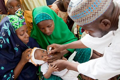 Vaccinating against polio in Nigeria, one of the three countries in the world in which it is still endemic, but where progress towards eradicating it is being made.