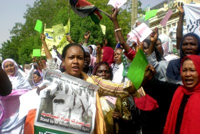 Sudanese women protesting for their rights.