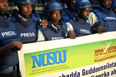 Somali journalists wear bullet-proof vests to go to work (file photo).