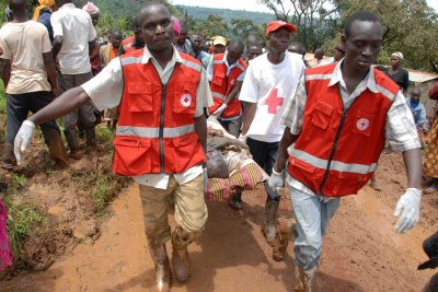 Red Cross personnel were on hand to treat the wounded (file photo).