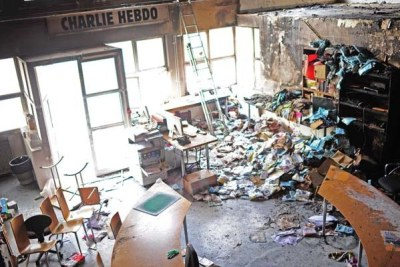 Charlie Hebdo offices after a firebomb attack (file photo).