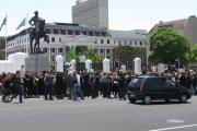 Demonstrators Protest the Protection of Information Bill on 'Black Tuesday'