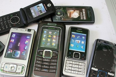Models of mobile phones.