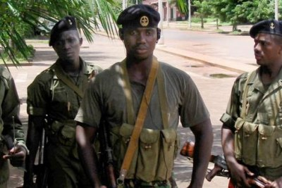 Soldiers patrol the streets of the capital Bissau (file photo).