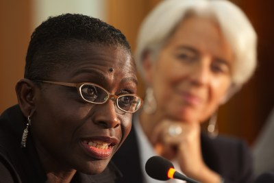 International Monetary Fund Managing Director Christine Lagarde, right, listens to IMF Africa Director Antoinette Sayeh.