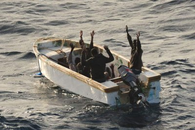 Suspected pirates surrender on Thursday.