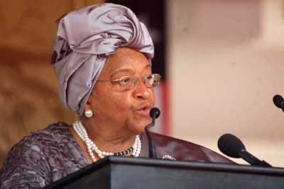 Sirleaf gives her inaugural address after taking the oath of office.