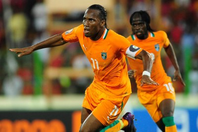 Didier Drogba celebrates a goal (file photo).