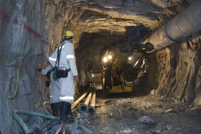 Drilling underground in a South African gold mine.