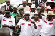 President Goodluck Jonathan, centre, with PDP supporters.
