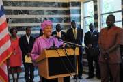 President Ellen Johnson Sirleaf and members of her cabinet (file photo).
