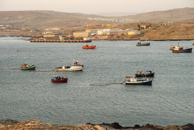 Fishing trawlers in Lüderitz, Namibia.