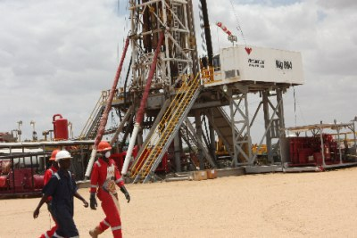 The Ngamia 1 oil rig in Turkana where Tullow Oil is prospecting for oil with initial signs of huge deposits.