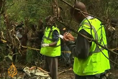 The helicopter carrying Internal Security Minister George Saitoti, his deputy and four others crashed near Nairobi.