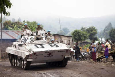 UN peacekeepers in an armoured vehicle (file photo).
