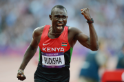 David Rudisha celebrates gold, and breaking his own world record, in the men's 800m final at Olympic Park, London.