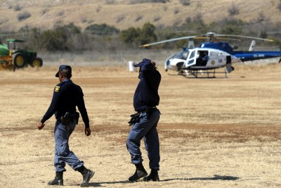 Police at Lonmin's troubled Marikana mine in the North West, Tuesday, 14 August 2012