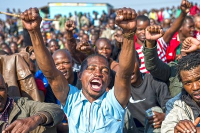 Striking Lonmin miners gathered to have a meeting to discuss the deaths of some 34 of their colleagues.