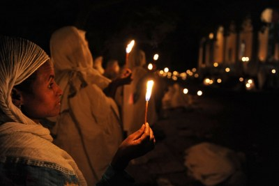 Orthodox Christians celebrate Easter during a night long service at St Georges Church Bahir Dar, Ethiopia. (File Photo)