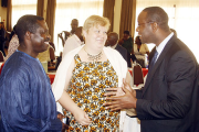 From left to right: Director of Energry and Environment Yaw Okese, Counselor of Natural Resources and Energy Anne Tarvainen and Finland Consulate to Uganda Richard Mugera.
