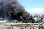 Cars parked around the U.S. embassy were set on fire during a protest in Tunis (file photo).