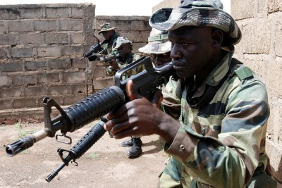 Senegalese troops have been seen moving towards the Gambian border (file photo).