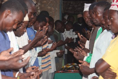 Members of the banned group Mombasa Republican Council praying (File Photo).