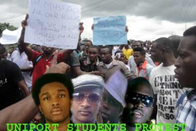 Uniport students protest.