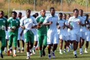 Super Eagles players loosening up before training (file photo).