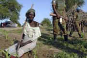 Troops patrol Abyei - one of the disputed areas that lies on the border of both countries (file photo).