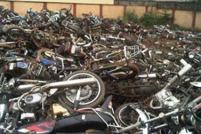 Crushed motorcycles.