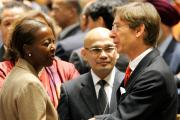 Louise Mushikiwabo, left, Rwanda's Minister for Foreign Affairs and Regional Cooperation, is congratulated on the country's election to the UN Security Council by Peter Wittig, Permanent Representative of Germany to the UN.