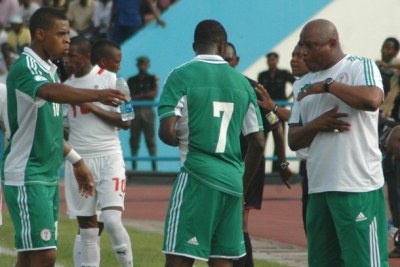 The Super Eagles of Nigeria in a match against Namibia in Calaba